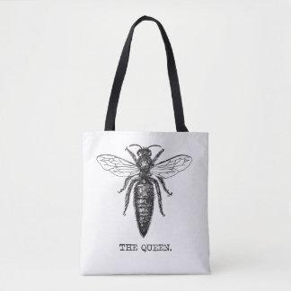 Queen Bee Drawing Vintage Black Tote Bag