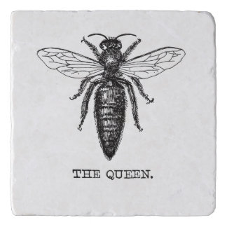 Queen Bee Drawing Vintage Black Trivet