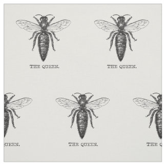 Queen Bee Illustration Black White Fabric