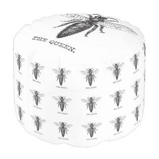 Queen Bee Illustration Black White Pouf