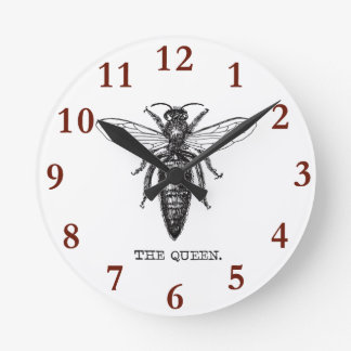 Queen Bee Illustration Vintage Round Clock
