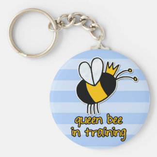 queen bee in training basic round button key ring