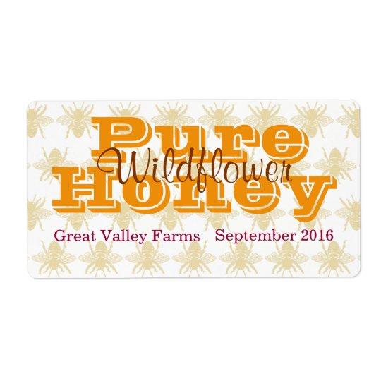 Queen Bee Wildflower Honey Jar Shipping Label