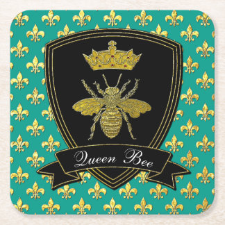 Queen Bee Your Text Square Paper Coaster