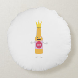 Queen Beer bottle with crone Zfq4y Round Cushion
