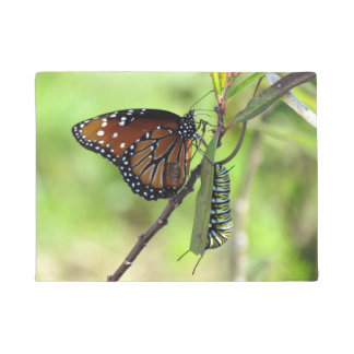 Queen Butterfly and Monarch Caterpillar Doormat