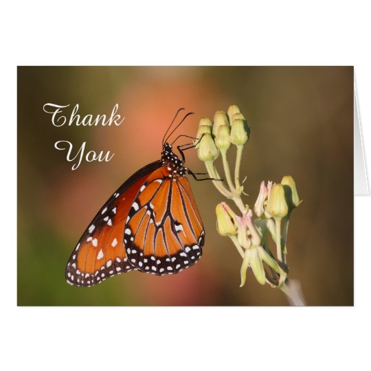 Queen butterfly on a branch,Thank you Card