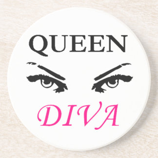 Queen Diva black & pink logo with feminine eyes Coaster