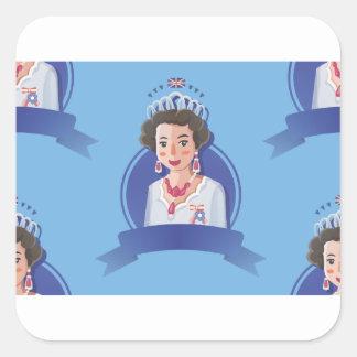 queen elizabeth 2 square sticker