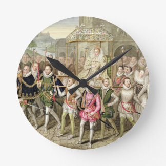 Queen Elizabeth I in procession with her Courtiers Round Clock