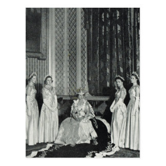Queen Elizabeth II with her coronation attendants Postcard