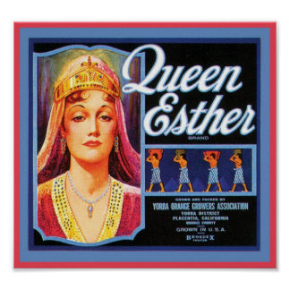Queen Esther Vintage Crate Label Poster