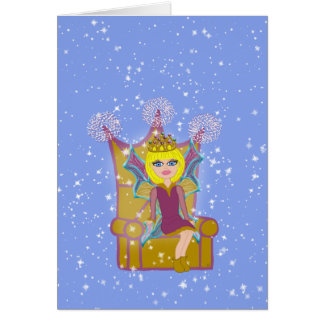 Queen Faerie Blonde Sitting on Throne Cartoon Art Card