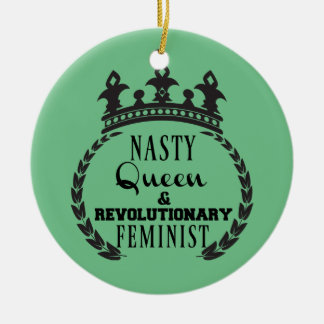 Queen Feminist Round Ceramic Decoration