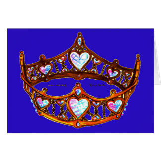 Queen Heart Warm Gold Crown Tiara blue violet note Card