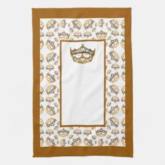 Queen hearts gold crown tiara border kitchen towel