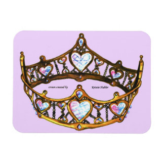Queen Hearts Gold Crown Tiara Pale Pink Lilac Magnet