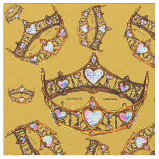 Queen Hearts Gold Crown Tiara pattern goldenrod Fabric