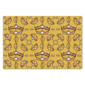 Queen Hearts Gold Crown Tiara pattern mustard Tissue Paper