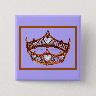 Queen Hearts Gold Crown Tiara periwinkle blue pin