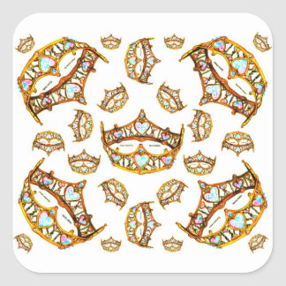 Queen hearts gold crown tiara white square sticker
