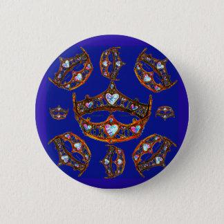 Queen Hearts Gold Crowns Tiaras blue button