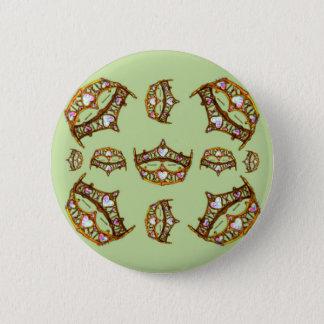 Queen Hearts Gold Crowns Tiaras green button
