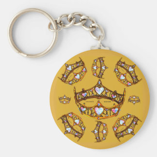 Queen Hearts Gold Crowns Tiaras mustard gold Key Ring
