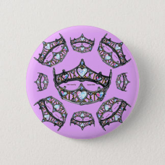 Queen Hearts Gold Crowns Tiaras Pale Pink Lilac 6 Cm Round Badge