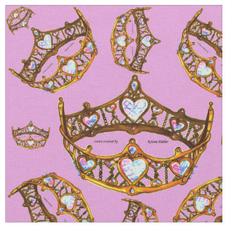 Queen Hearts Gold Crowns Tiaras pink lilac fabric