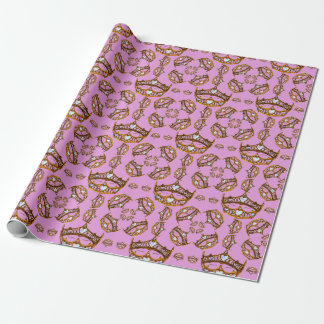 Queen Hearts Gold Crowns Tiaras pink lilac gift Wrapping Paper