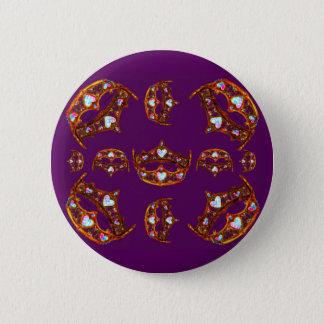 Queen Hearts Gold Crowns Tiaras purple button