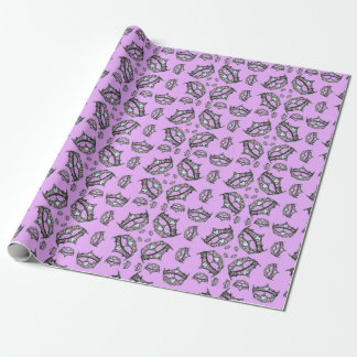 Queen Hearts Silver Crown Tiaras pink lilac gift Wrapping Paper