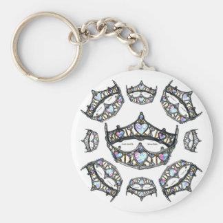 Queen Hearts Silver Crowns Tiaras white keychain