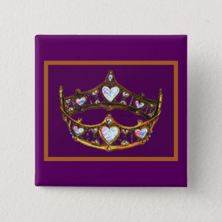 Queen Hearts Yellow Gold Crown Tiara royal purple 15 Cm Square Badge