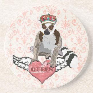 Queen King Julian Pink Damask  Coaster