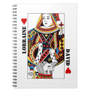 Queen + King of Hearts Playing Card Couple Journal