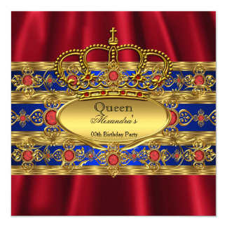 Queen King Prince Royal Blue Regal Red Crown 13 Cm X 13 Cm Square Invitation Card