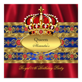Queen King Prince Royal Blue Regal Red Crown 2 13 Cm X 13 Cm Square Invitation Card
