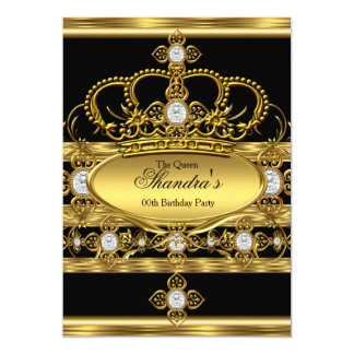 Queen King Prince Royal Gold Diamond Crown Party 13 Cm X 18 Cm Invitation Card