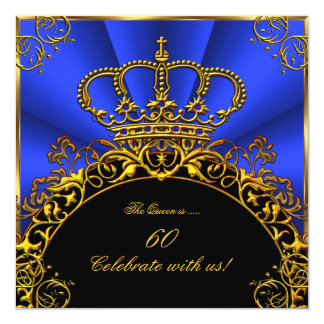 "Queen King Regal Gold Royal Blue Birthday Party 5.25"" Square Invitation Card"