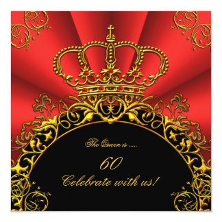 "Queen King Regal Red Gold Royal Birthday Party 2 5.25"" Square Invitation Card"