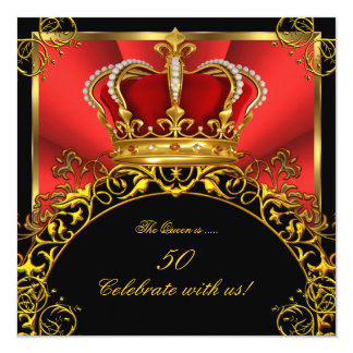 "Queen King Regal Red Gold Royal Birthday Party 3 5.25"" Square Invitation Card"