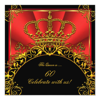 "Queen King Regal Red Gold Royal Birthday Party 5.25"" Square Invitation Card"