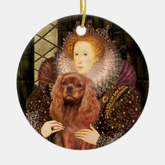 Queen Liz I - Ruby Cavalier Ceramic Ornament