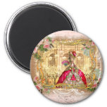 Queen Marie Antoinette at Versailles Party Pink 6 Cm Round Magnet