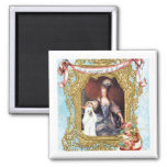 Queen Marie Antoinette White Poodle n Cake Square Magnet