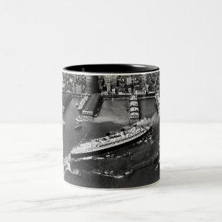 Queen Mary Docks with Help Two-Tone Coffee Mug