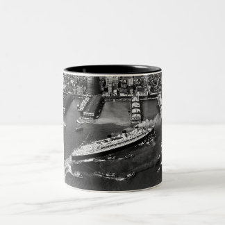 Queen Mary Docks with Help Two-Tone Mug