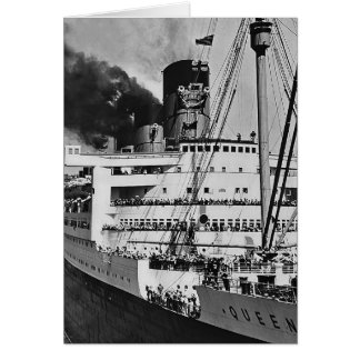 Queen Mary Enters Port Card